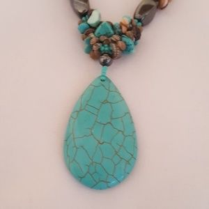 "Jewelry - 17"" turquoise, shell, hermatite necklace. EUC"
